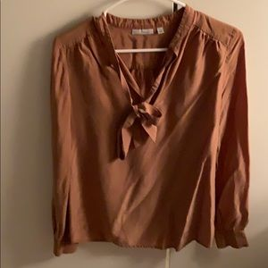 Halogen Brown Neck Tie Blouse - Small